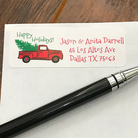 Christmas Truck Address Stickers