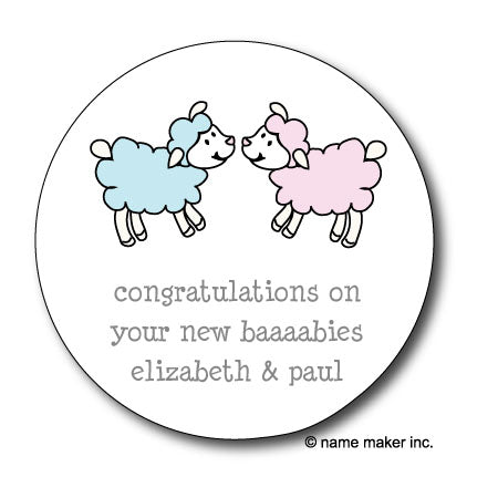Round Baby Lambs Gift Stickers (Available in 4 Colors)