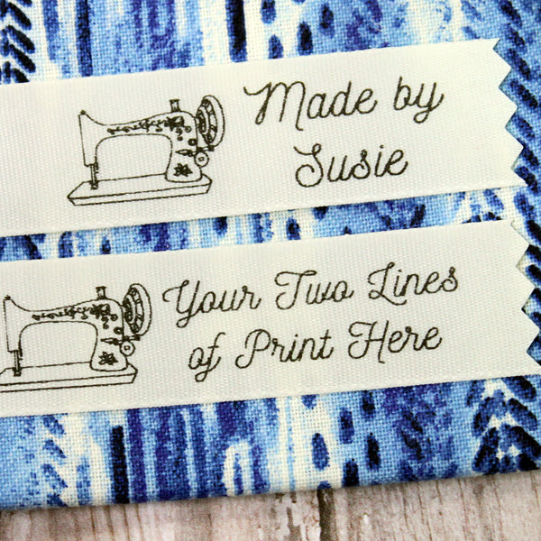 Vintage Sewing Machine Creme Satin Label
