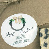 Personalized Watercolor Wreath Gift Stickers