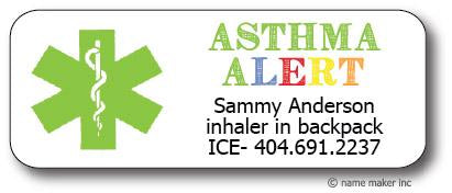 Asthma Medical Waterproof Label