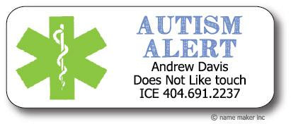 Autism Medical Waterproof Label