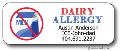 Dairy Allergy Waterproof Label