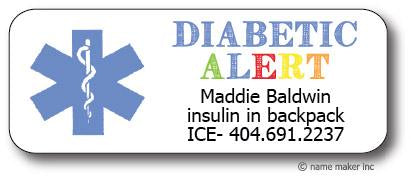 Diabetic Medical Waterproof Label