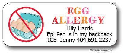 Eggs Allergy Waterproof Label (Girls)