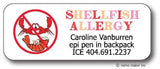 Shellfish Allergy Waterproof Label (Girls)