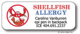 Shellfish Allergy Waterproof Label