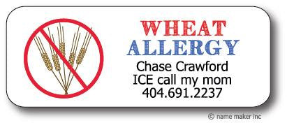 Wheat Allergy Waterproof Label