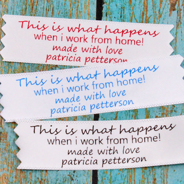 Work from home Humor Satin Label