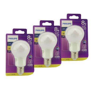 Pack x3 Ampolletas LED E27 PHILIPS 8W Cálida