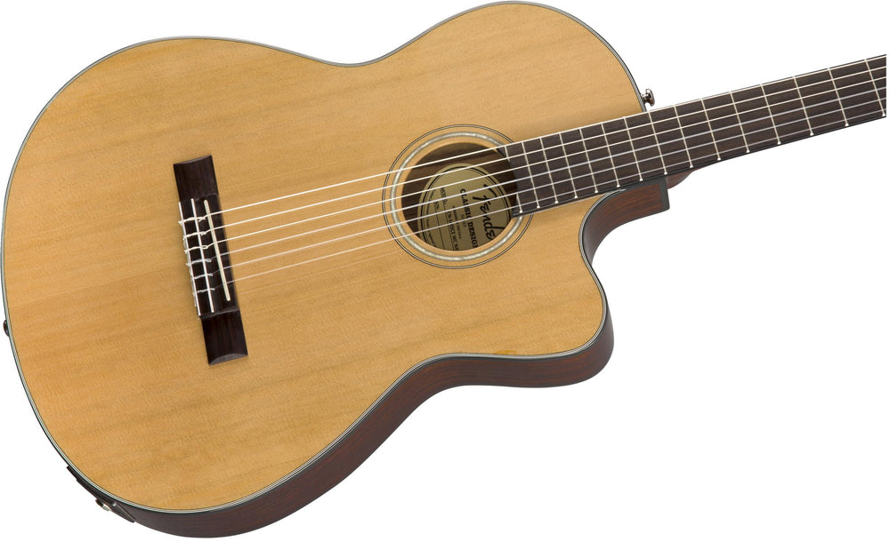 Fender CN-140SCE Solid Top Classical Guitar with Pickup and Cutaway, Fender, Haworth Music