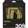 Fender 30' Deluxe Series Coiled Guitar Cable In Tweed