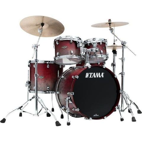 "The TAMA Starclassic Walnut/Birch 4-piece Shell Pack with 22"" Bass Drum in - Satin Burgundy Fade (SGF) - No Hardware Included, TAMA, Haworth Music"
