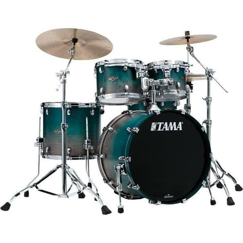 "The TAMA Starclassic Walnut/Birch 4-piece Shell Pack with 22"" Bass Drum in - Satin Sapphire Fade (SPF) - No Hardware Included, TAMA, Haworth Music"