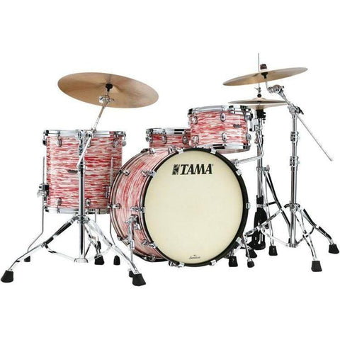"The TAMA Starclassic Maple 3-piece Shell Pack with 22"" Bass Drum in - Red & White Oyster (RWO) with Chrome Hardware - No Extra Hardware Included, TAMA, Haworth Music"