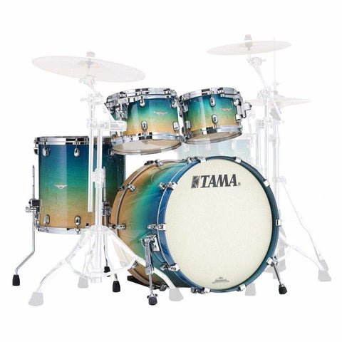 "The TAMA Starclassic Maple 4-piece Shell Pack with 22"" Bass Drum in - Ocean Blue Fade Movingui (VOLM) with Chrome Hardware - No Extra Hardware Included, TAMA, Haworth Music"