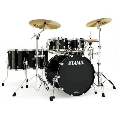 "The TAMA Starclassic Walnut/Birch 5-piece Shell Pack with 22"" Bass Drum in - Piano Black (PBK) - No Hardware Included, TAMA, Haworth Music"