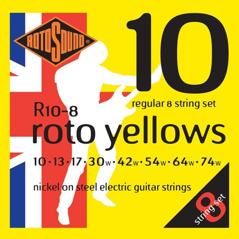 Rotosound R108 Roto Yellows 8 Strings Electric String Set 10-74, Rotosound, Haworth Music