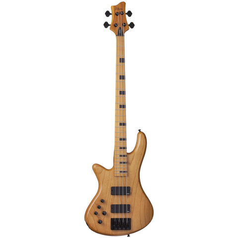 Schecter Stiletto-4 Session LH Left-Handed Electric Bass Guitar in Aged Natural Satin, Schecter, Haworth Music