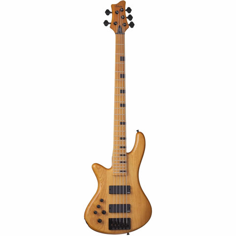Schecter Stiletto-5 Session LH Left-Handed 5-string Electric Bass Guitar in Aged Natural Satin, Schecter, Haworth Music