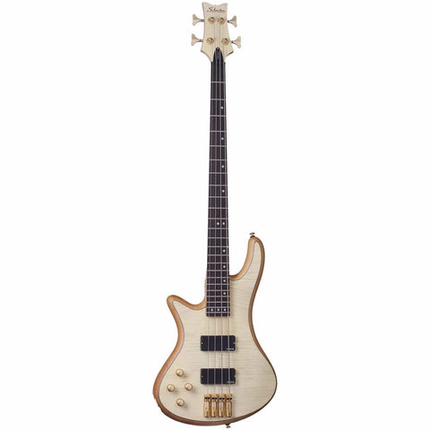 Schecter Stiletto Custom-4 LH Left Handed Electric Bass Guitar in Natural Satin, Schecter, Haworth Music