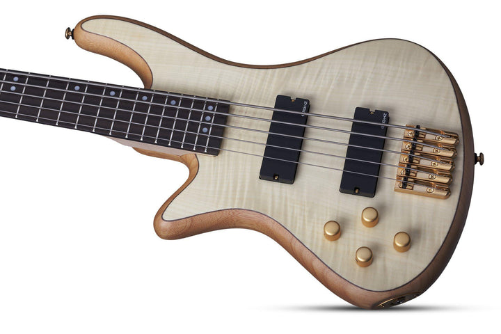 Schecter Stiletto Custom-5 LH Left Handed 5-string Electric Bass Guitar in Natural Satin, Schecter, Haworth Music