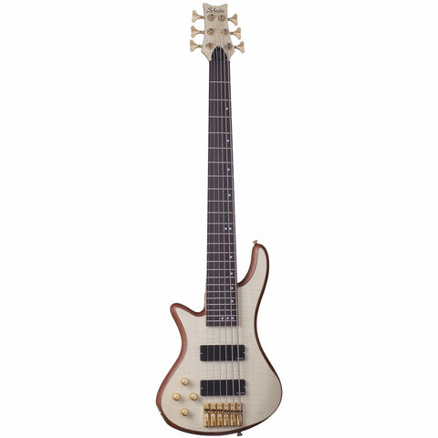 Schecter Stiletto Custom-6 LH Left Handed 6-string Electric Bass Guitar in Natural Satin, Schecter, Haworth Music