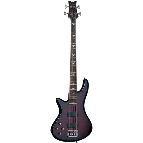 Schecter Stiletto Extreme-4 LH Left Handed Electric Bass Guitar in Black Cherry, Schecter, Haworth Music