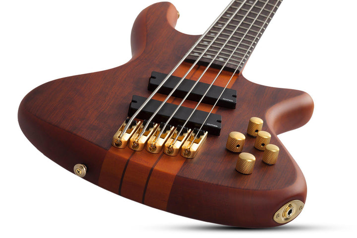 Schecter Stiletto Studio-5 FF Fan-Fret 5-string Electric Bass Guitar in Honey Satin, Schecter, Haworth Music