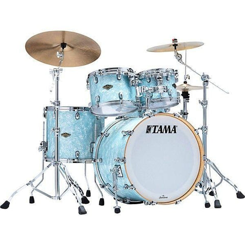 "The TAMA Starclassic Walnut/Birch 4-piece Shell Pack with 22"" Bass Drum in - Lacquer Arctic Blue Oyster (LLO) - No Hardware Included, TAMA, Haworth Music"
