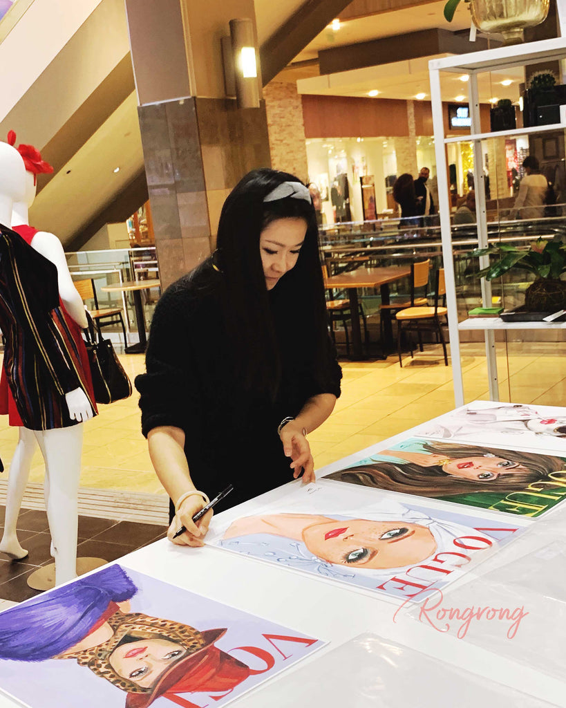 Rongrong DeVoe fashion illustrator signs her Vintage Vogue fashion art prints to fans