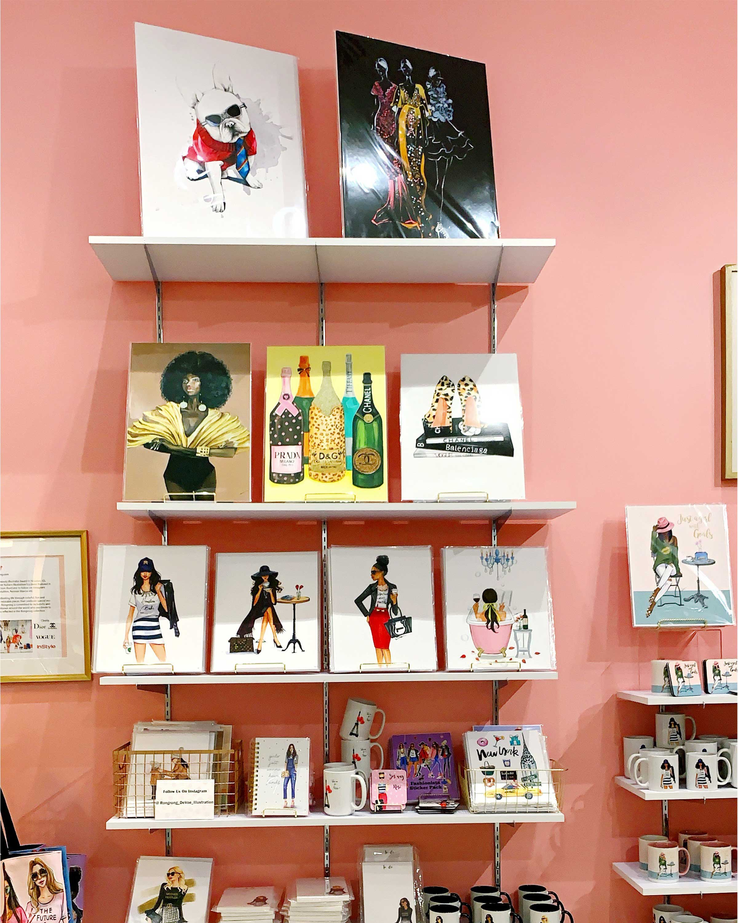 Rongrong DeVoe fashion illustration and gift shop in houston galleria