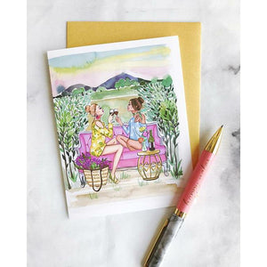 wine and friendship notecard