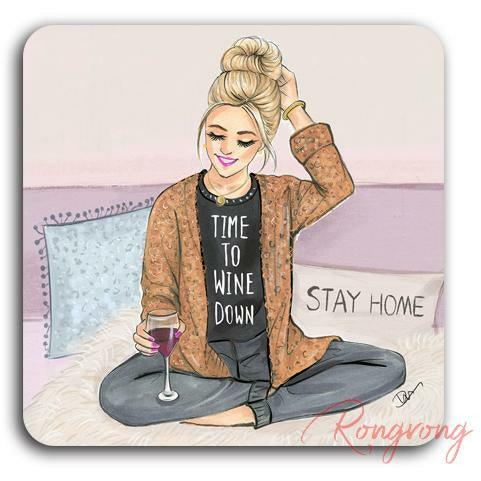 Time to Wine Down Coaster - Blonde - Shop Rongrong