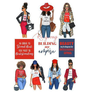 Red and white Sorority Planner Sticker Set - Shop Rongrong
