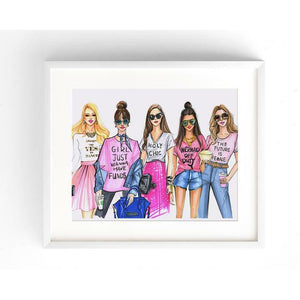 Pink Fashionistas Art Print - Shop Rongrong