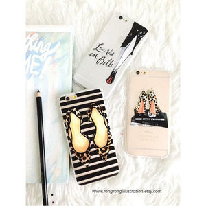 Leopard Shoes and Stripes Phone Case - Shop Rongrong