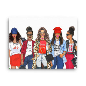 Red and White Sorority Group Sister Art Print - Shop Rongrong