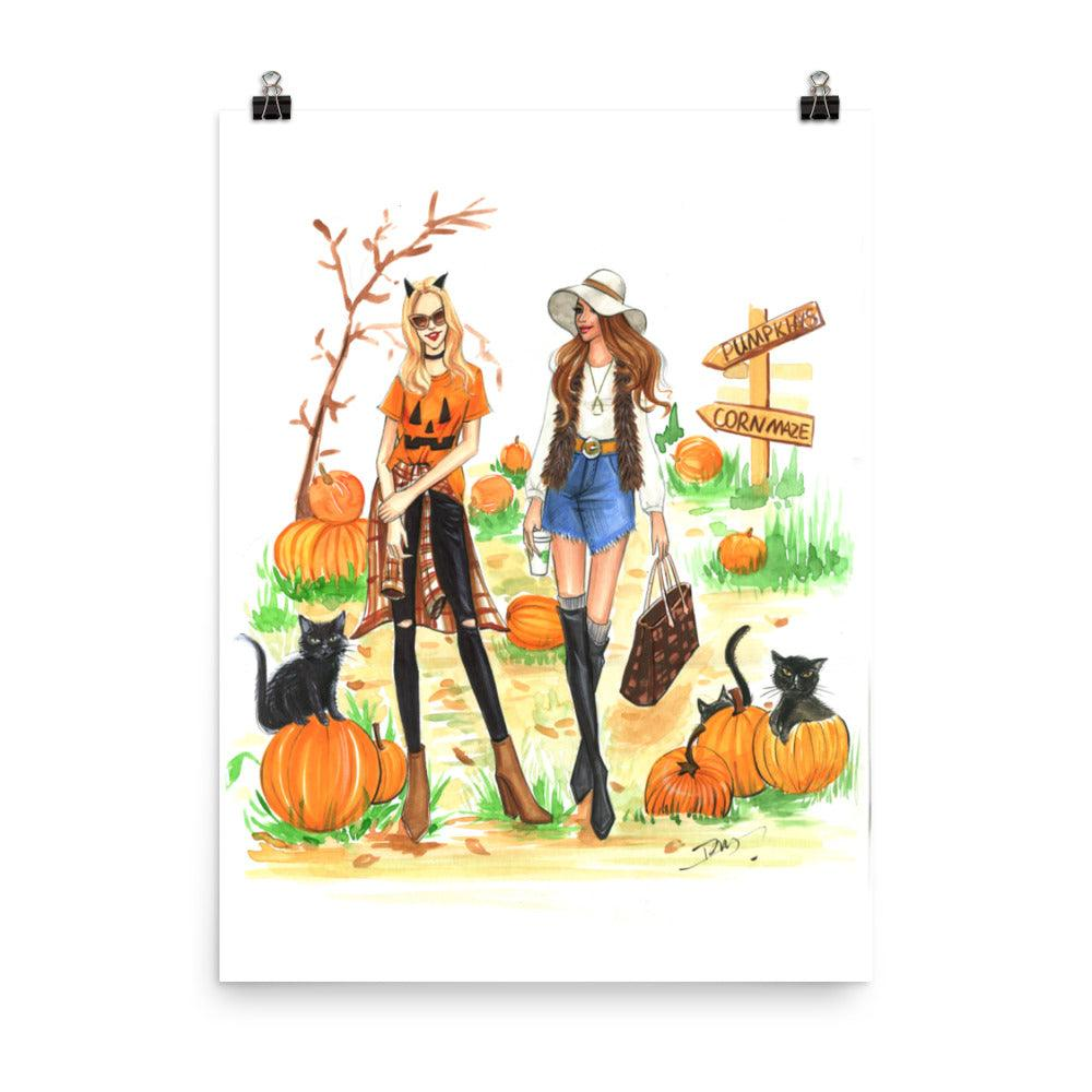 Pumpkin Picking Art Print - Shop Rongrong