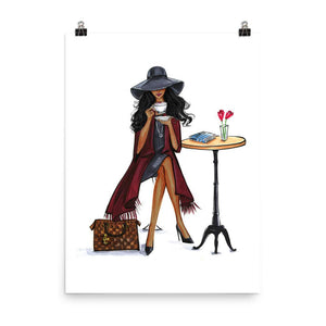 Lady Latte Art Print - Dark