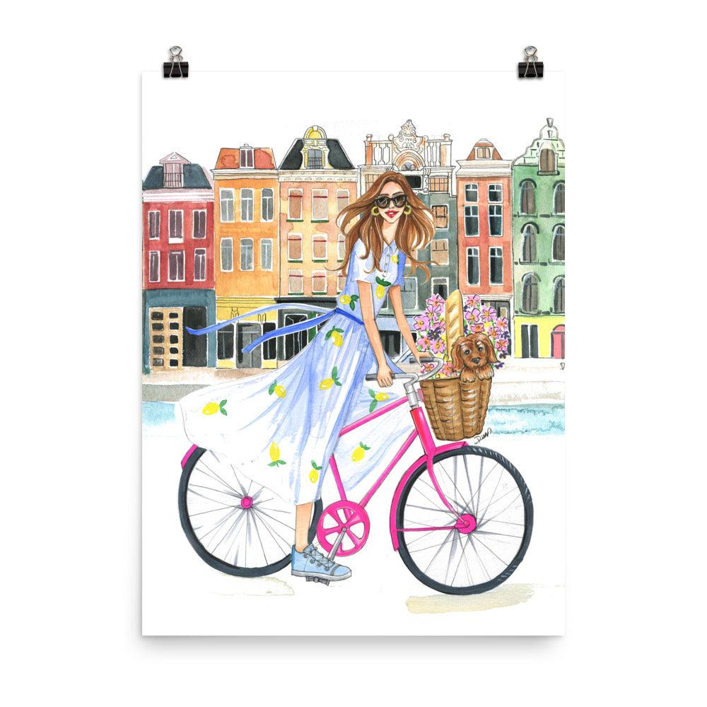 Bike Ride on the Canal Art Print - Shop Rongrong