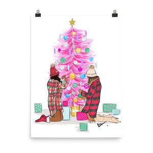 Pink Christmas Tree Art Print - Shop Rongrong