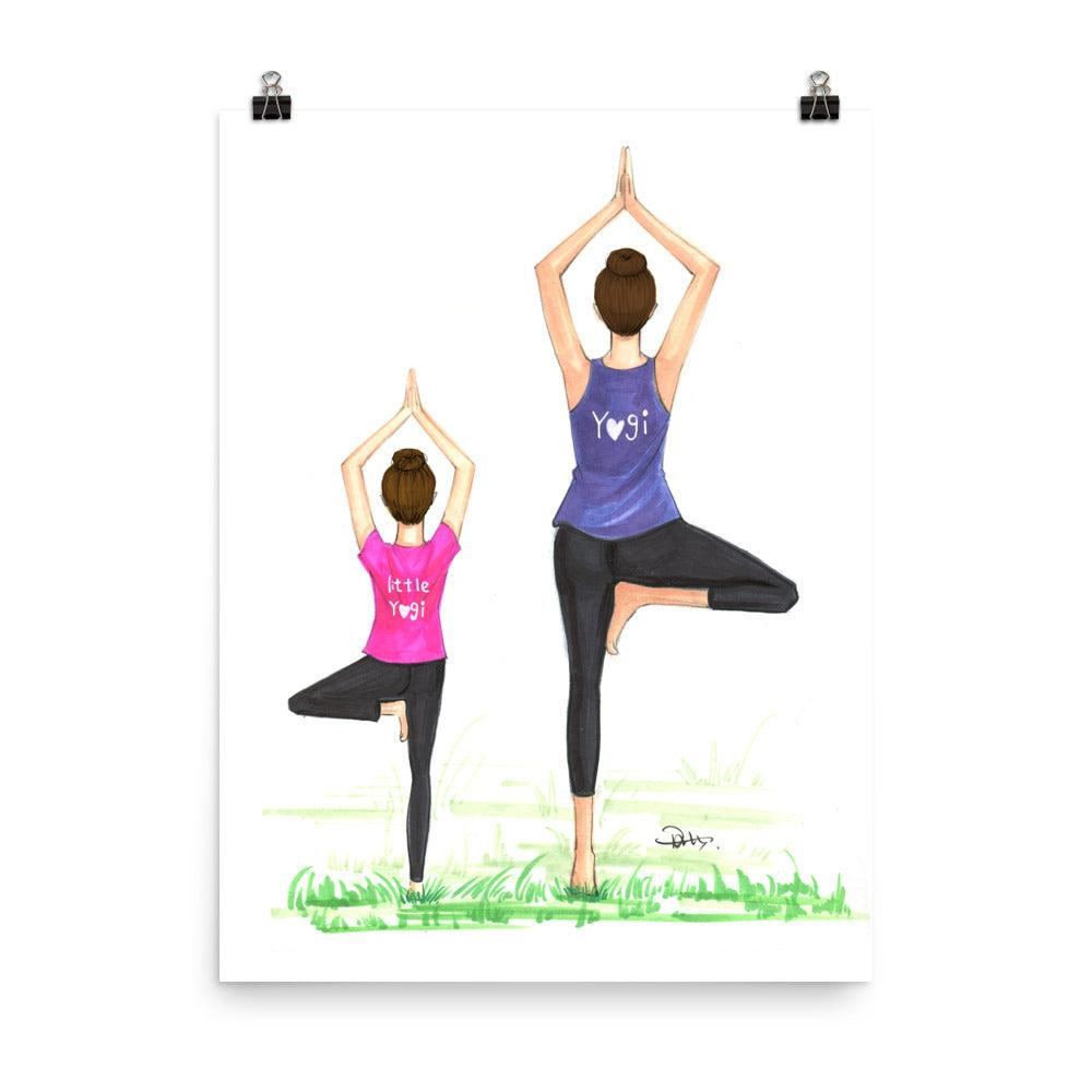 Yogi Mom and Little Yogi Art Print - Shop Rongrong