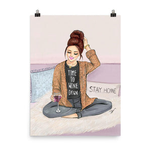 Time To Wine Down Art Print - Shop Rongrong