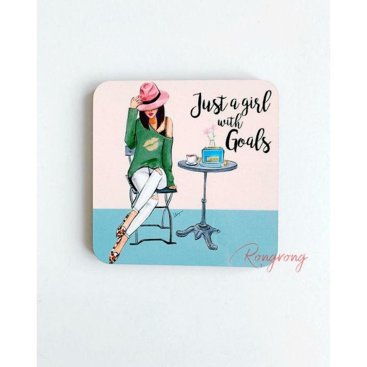 Just A Girl With Goals Coaster -Brunette