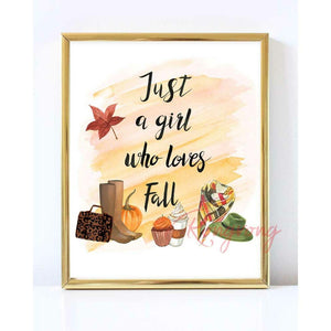 Just A Girl Who Loves Fall Illustration by Rongrong DeVoe