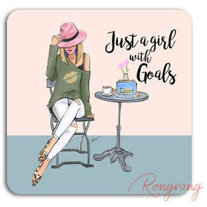 Just A Girl With Goals Coaster -Blonde