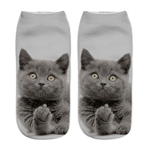 Cat Socks 3D Printing Female Socks Women Low Cut Ankle Socks Calcetines Mujer Casual Hosiery Printed Sock
