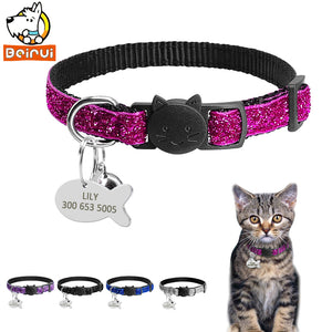 Gorgeous Quick Release Cat Puppy Tag Collar Set Personalized Nylon Dog Collars Engraved Tags For Small Pets Kitten 1cm Width