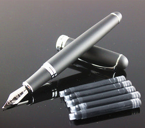 Luxury Jinhao X750 school Office Writing Stationery ink pen Business metal Calligraphy Fountain Pen ink (Frosted Black)